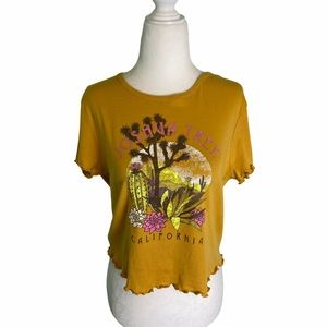 Joshua Tree Mustard Cropped Lettuce Hem Graphic T